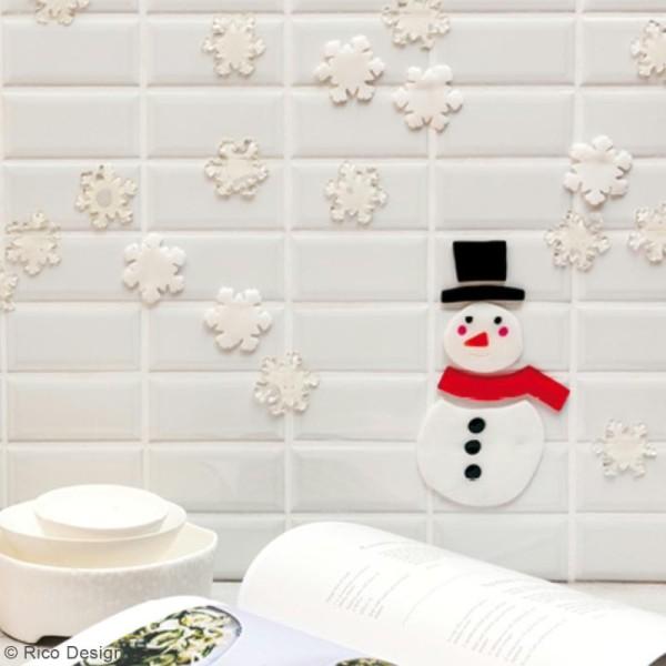 Autocollant gel - Bonhomme de neige et flocons - 18 cm - 7 pcs - Photo n°2