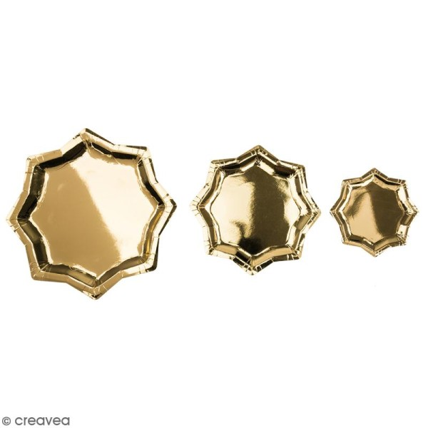 Assiettes en carton - Etoiles dorées - 13 cm à 25 cm - 6 pcs - Photo n°1