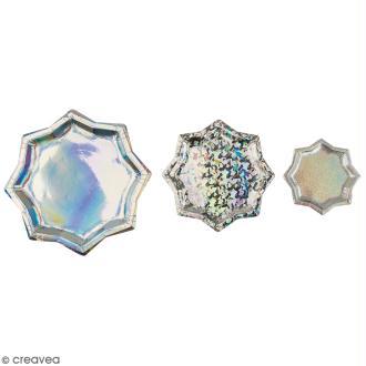 Assiettes en carton - Etoiles argentées motifs - 13 cm à 25 cm - 6 pcs