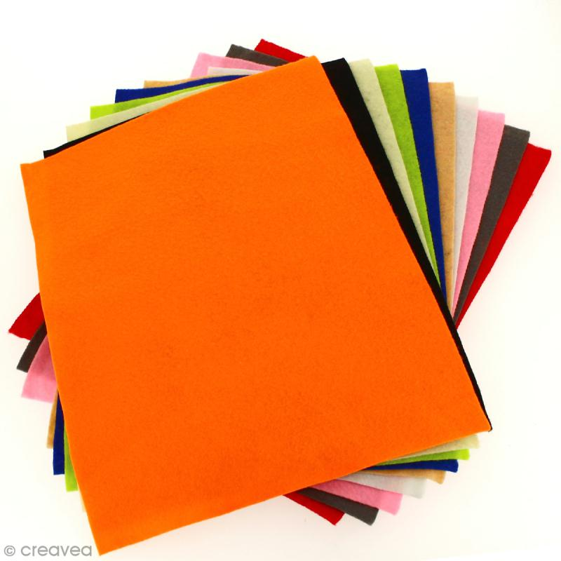 Assortiment de feutrine fine 1,5 mm - 24 x 30 cm - 10 pcs - Photo n°4