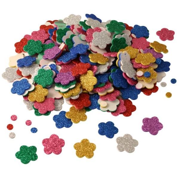 Fleurs et ronds autocollants en mousse pailletée x 500 - Photo n°1