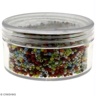 Perles de rocaille 2,5 mm - assortiment 10 couleurs - 100 g