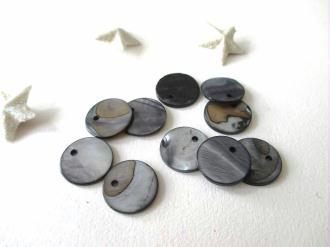 Lot de 10 sequins nacre 13 mm gris