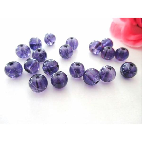 Lot de 20 Perles Rondes en Bois 16mm Améthyste