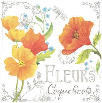 4 Serviettes en papier Collage Fleurs de Coquelicots Format Lunch