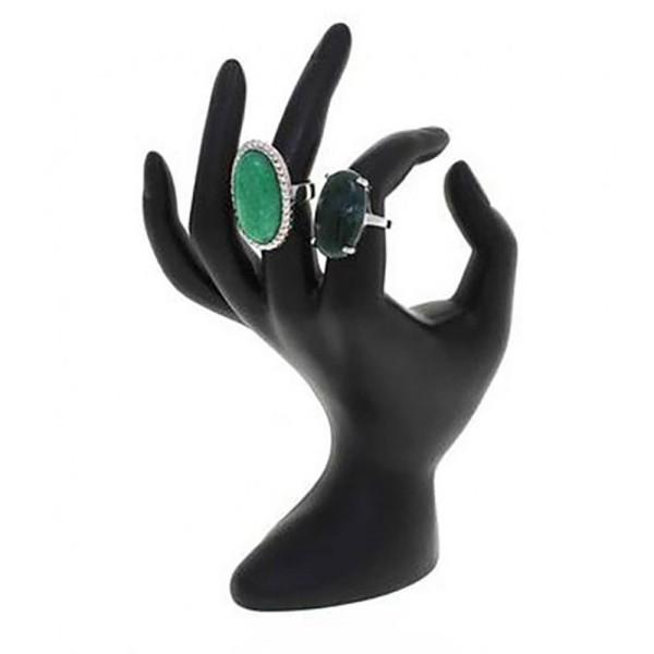 Porte bijoux porte bague main en résine brillante Noir - Photo n°1