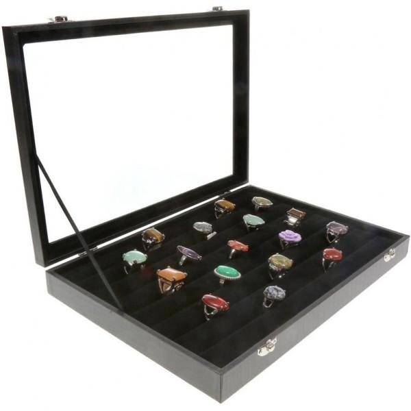 Porte bijoux coffret mallette pour bagues simili cuir Noir - Photo n°2