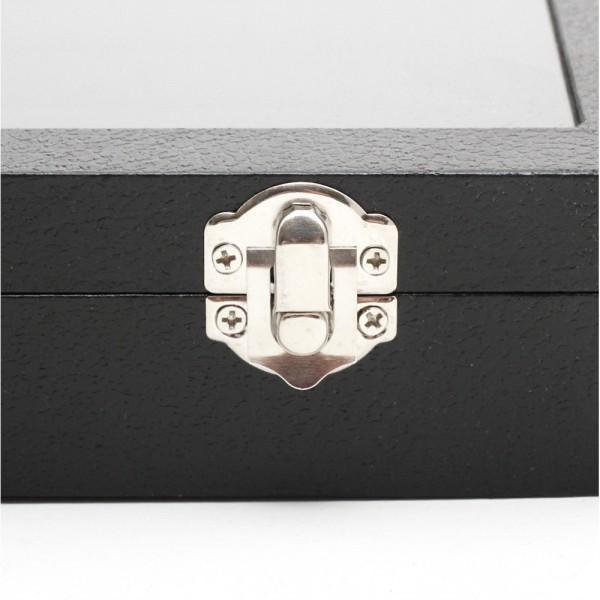 Porte bijoux coffret mallette pour bagues simili cuir Noir - Photo n°3