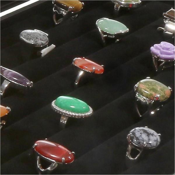Porte bijoux coffret mallette pour bagues simili cuir Noir - Photo n°4