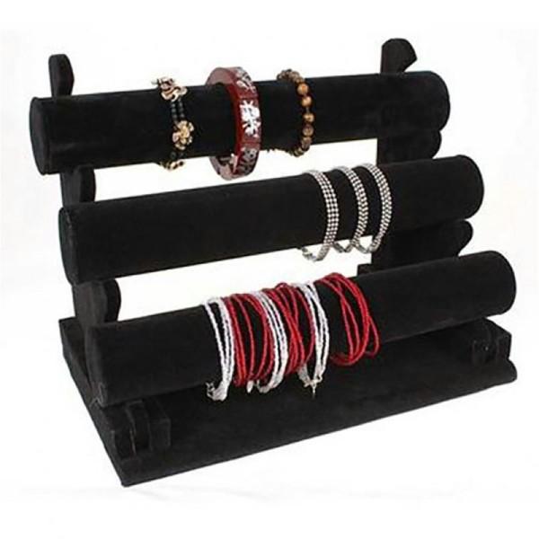 Porte bijoux jonc porte bracelet et montre en velours à 3 rangs noir Noir - Photo n°1