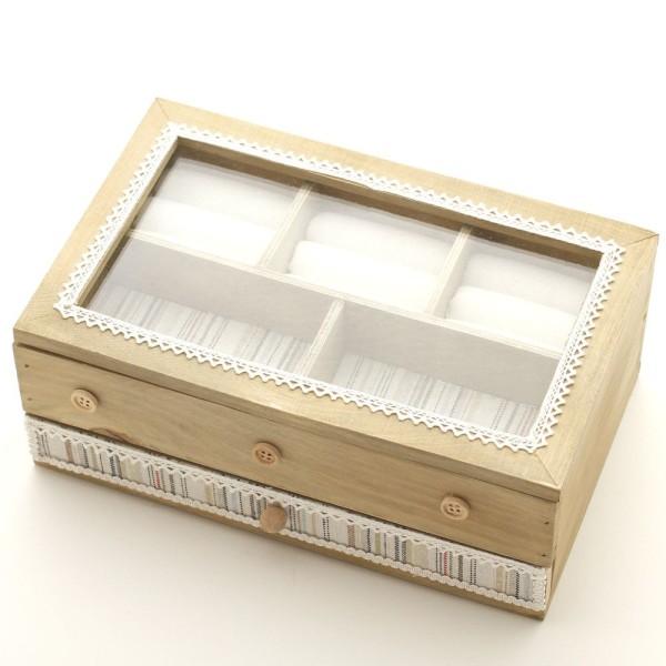 Boîte à bijoux coffret en bois bagues colliers bracelets avec tiroir Naturel - Photo n°2