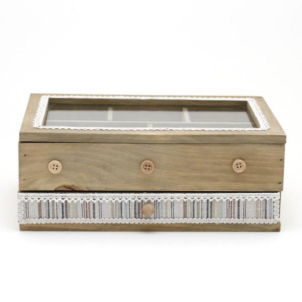 Boîte à bijoux coffret en bois bagues colliers bracelets avec tiroir Naturel - Photo n°3