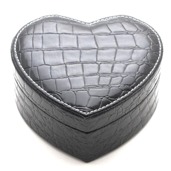 Boîte à bijoux coffret simili cuir cœur noir miroir et plateau amovible Noir - Photo n°3