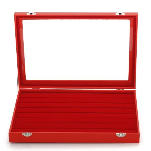 Présentoir coffret boîte à bagues 34x24cm simili cuir Rouge - Photo n°2