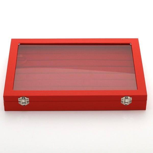 Présentoir coffret boîte à bagues 34x24cm simili cuir Rouge - Photo n°1