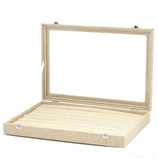 Présentoir coffret boîte à bagues 34x24cm toile jute Naturel - Photo n°2