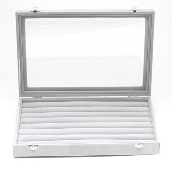Présentoir coffret boîte à bagues 34x24cm velours Gris - Photo n°2