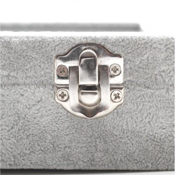 Présentoir coffret boîte à bagues 34x24cm velours Gris - Photo n°3