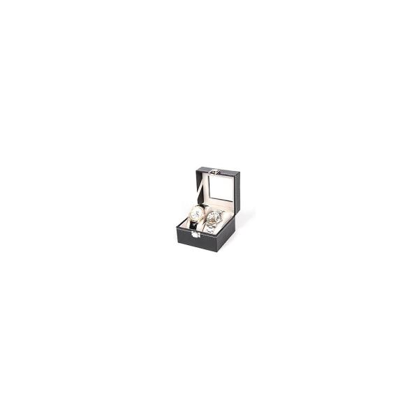 Présentoir coffret boîte pour 2 montres simili - Présentoirs pour bijoux Noir - Photo n°1
