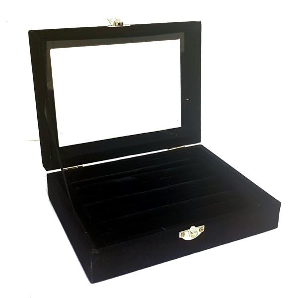 Présentoir coffret boîte à bagues 20x15cm velours Noir - Photo n°1