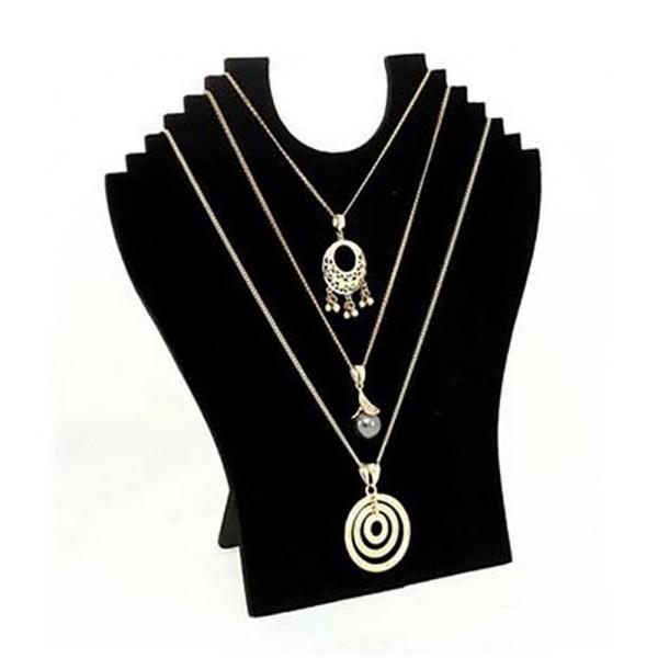 Porte bijoux buste plat pliant pour 6 colliers velours noir Noir - Photo n°1