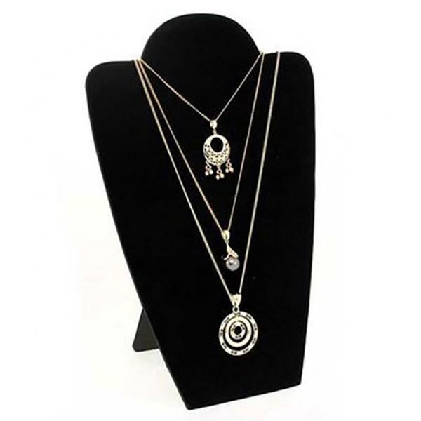 Porte bijoux buste plat pliant pour colliers ou chaînes 30 cm Noir - Photo n°1