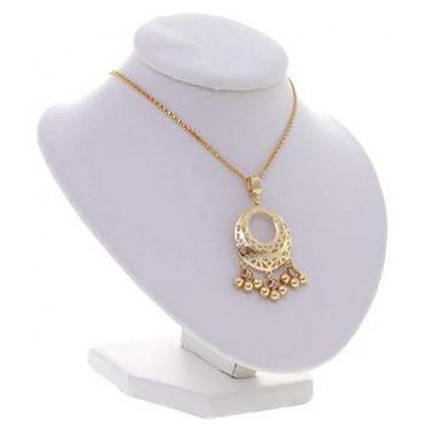 Porte bijoux buste porte collier et chaine simili cuir 16 cm Blanc - Photo n°1
