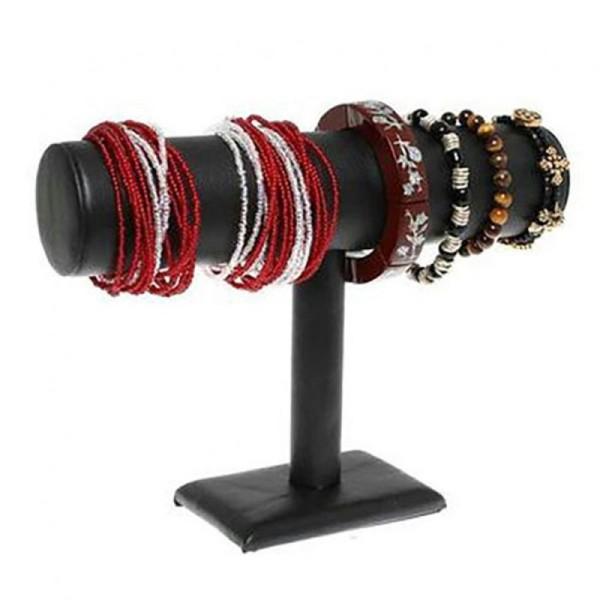 Porte bijoux support bracelet montres jonc en simili cuir à 1 rang Noir - Photo n°1