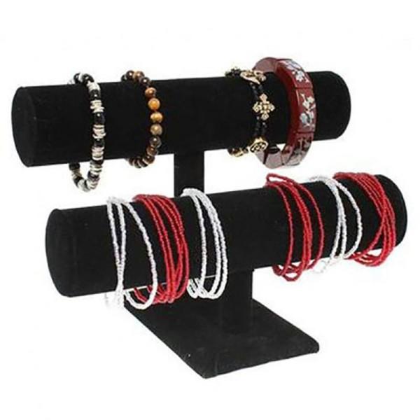 Porte bijoux jonc porte bracelet montre et chouchous velours à 2 rangs Noir - Photo n°1