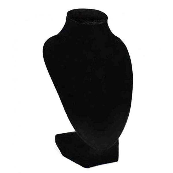Porte bijoux buste porte collier en velours 15 cm Noir - Photo n°1