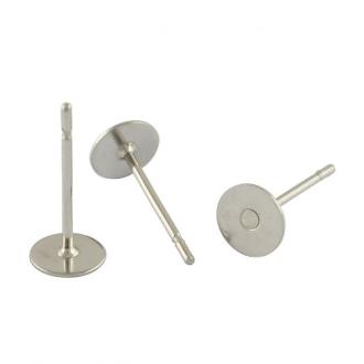 Accessoires boucle d'oreille support fimo avec plateau 100 pièces - 6 mm Gris