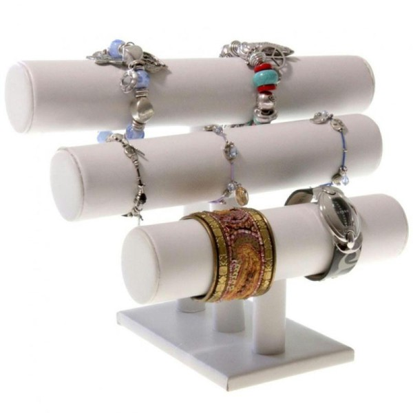 Porte bijoux support bracelet et montre 3 joncs en simili cuir Blanc - Photo n°1