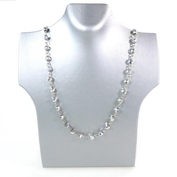 Porte bijoux presentoir pour collier buste 20 cm Argenté - Photo n°1
