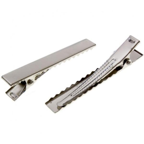 en ligne convient aux hommes/femmes répliques Pince crocodile barrette cheveux 35x7mm (10 pièces) Argenté