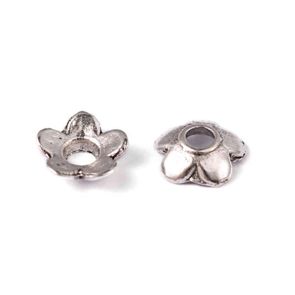 Coupelle calottes ornement perle minifleurs diamètre 6.5 mm (50 pièces) Argenté - Photo n°2