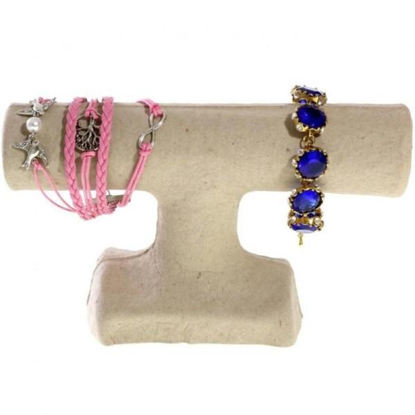 Porte bijoux support bracelet 1 jonc en papier mâché Beige - Photo n°2