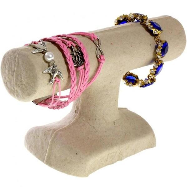 Porte bijoux support bracelet 1 jonc en papier mâché Beige - Photo n°1