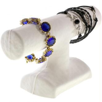 Porte bijoux support bracelet 1 jonc en papier mâché Blanc