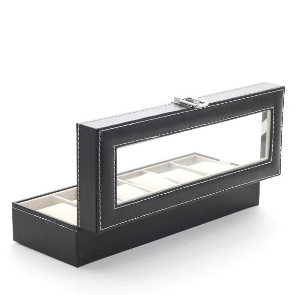Porte bijoux coffret à montres pour ranger et exposer (6 montres) Noir - Photo n°3