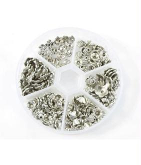 Accessoires création boite de calottes pour perles fleurs argentées (180 pièces)