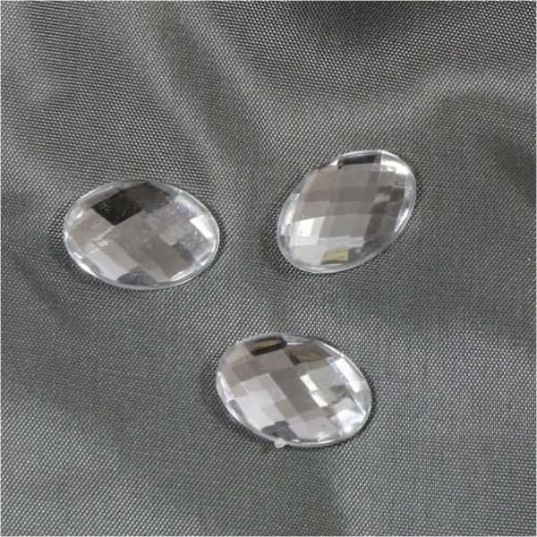Accessoires création cabochon strass acrylique ovale gloria 18 x 13mm 5 pièces Transparent - Photo n°1