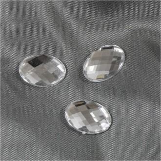 Accessoires création cabochon strass acrylique ovale gloria 18 x 13mm 5 pièces Transparent