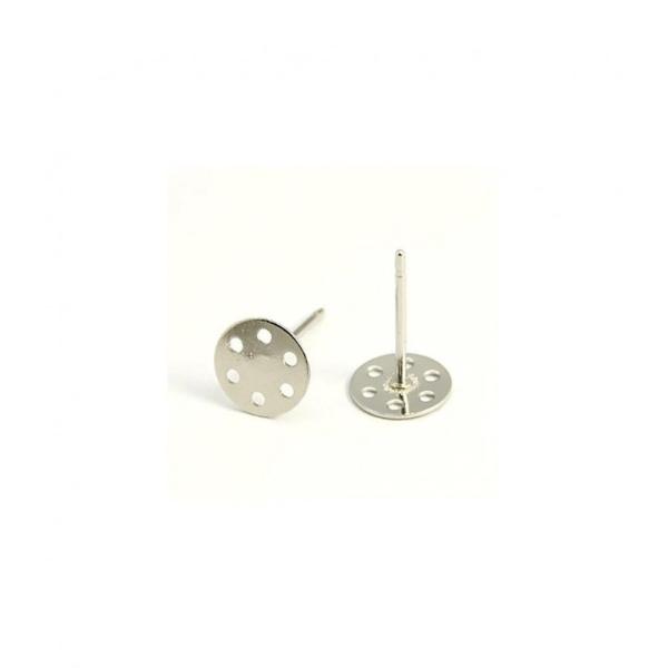 Accessoires création clous d'oreilles support boucle fimo 12 x 7 mm (10 pièces) Gris - Photo n°1