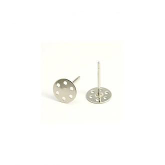Accessoires création clous d'oreilles support boucle fimo 12 x 7 mm (10 pièces) Gris