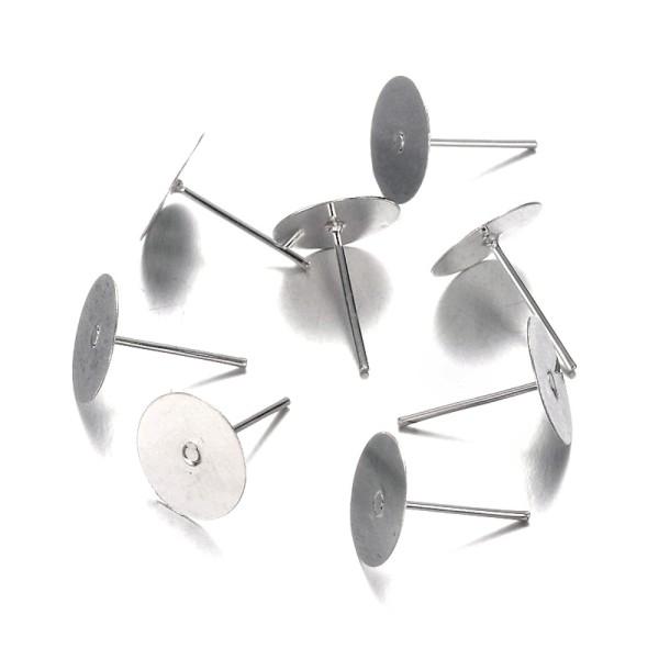 Clous d'oreilles support cabochon 12 x 10 mm (10 pièces) Argenté - Photo n°2