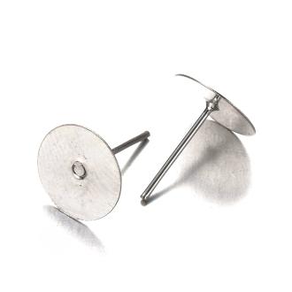 Accessoires création clous d'oreilles support fimo cabochon 12 x 10 mm 5 pièces Argenté
