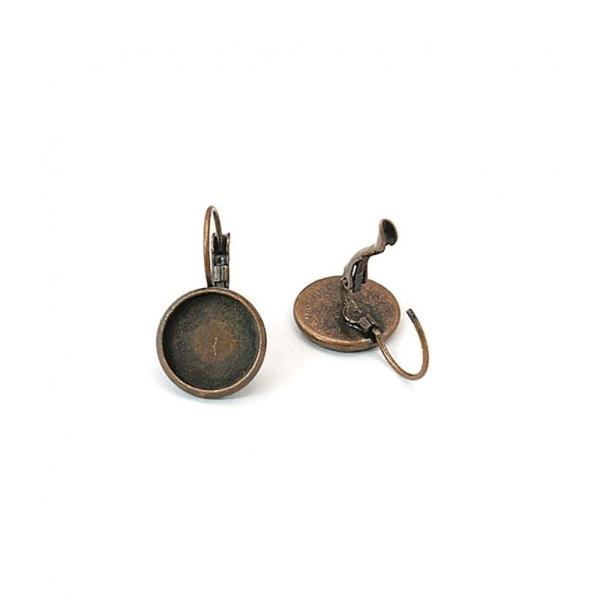 Boucles dormeuses support cabochon 25 x 14 mm (6 pièces) Cuivre - Photo n°1