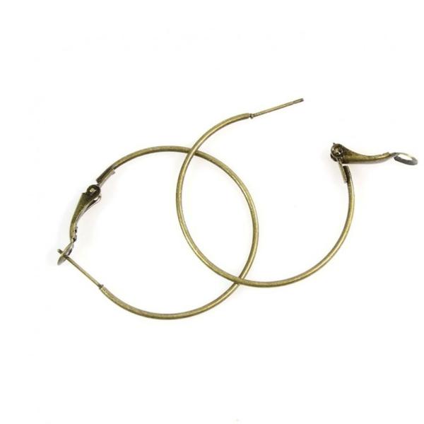 Accessoires création boucle d'oreille créole support bijoux 35 mm (2 pièces) Bronze - Photo n°1
