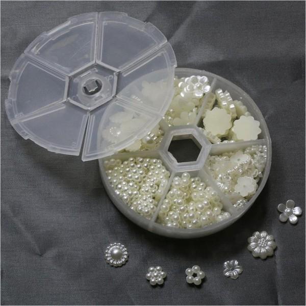 Accessoires création kit accessoires fleurs nacrées à coller (240 pièces) Beige - Photo n°2