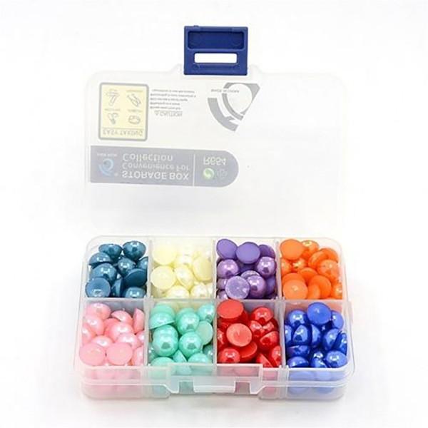 Accessoires création boite de cabochons colorés et nacrés 10 x 5 mm (272 pièces) Multicolore - Photo n°2